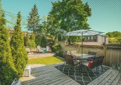 Photo illustration to accompany article on what home buyers want most in a new home, showing a beautiful outdoor oasis