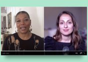 Photo showing Queen Latifah and NextAdvisor editor-at-large Farnoosh Torabi