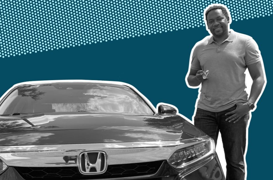 The author with the used Honda Accord he purchased