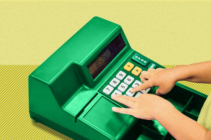 Image showing a play cash register, to accompany article on talking to your children about money