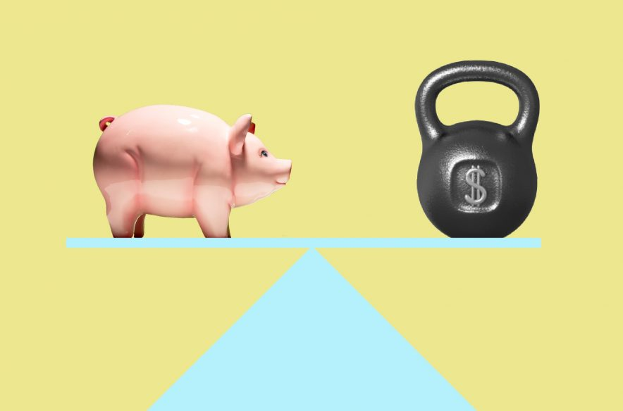 Image to accompany article and quiz on whether you should save money or pay off debt first