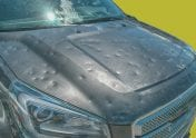A photo to accompany a story about whether car insurance covers hail damage