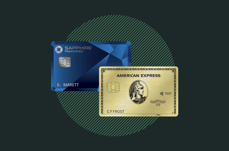 An image to accompany a story about the Chase Sapphire Preferred and Amex Gold credit cards