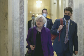 Treasury Secretary Janet Yellen is pictured leaving the U.S. Capitol Tuesday, Aug. 3. The Senate is considering amendments to the new $1 trillion infrastructure bill, which includes a provision that could impact cryptocurrency exchanges.