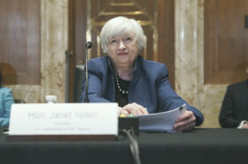 Treasury Secretary Janet Yellen is pictured at a Senate Appropriations Subcommittee hearing on June 23 in Washington, D.C. The Treasury said in a statement this week that U.S. policymakers should instate new regulation for stablecoins.