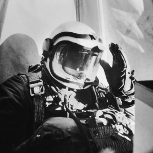 US Air Force Capt. Joseph Kittinger shielding his eyes from the sun during his ascent before making his experimental parachute jump from a balloon at a record breaking altitude of 102,800 feet.