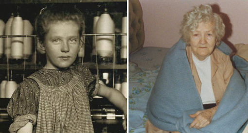 Left: Lewis Hine | Right: Photo provided by Addie's Family