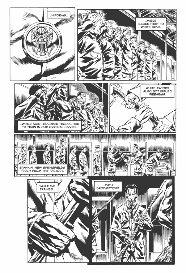 A page from the 2014 graphic novel, 'Harlem Hellfighters,' written by Max Brooks and illustrated by Canaan White.