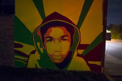 Trayvon Martin mural in the style of Shepard Fairey's Obama poster, Hamilton at  Tuxedo, 2013
