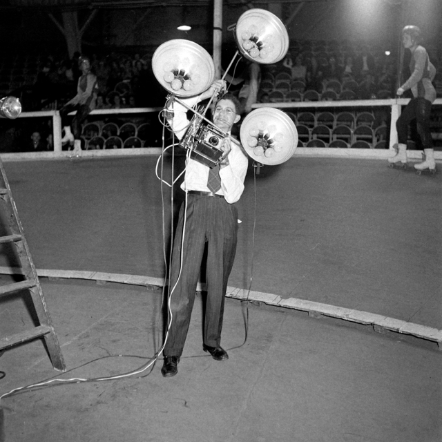 LIFE photographer George Skadding with an impressive lighting-and-camera rig, 1948.