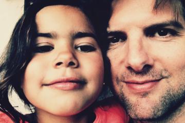 Adam Scott and his daughter Frankie Foo