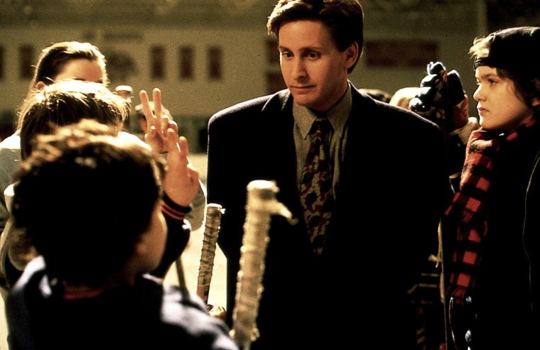 "Emilio Estevez as Gordon Bombay in ""The Mighty Ducks."""