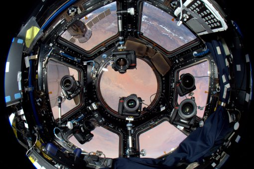 The cupola of the International Space Station.