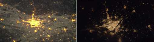 An image of Montreal at night taken from the International Space Station using a handheld method (left) and Pettit's barn door tracker (right).