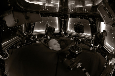A self-portrait taken in the International Space Station cupola using 'the turtleneck'.