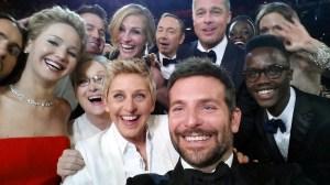 Ellen DeGeneres shows actors, front row from left, Jared Leto, Jennifer Lawrence, Meryl Streep, Ellen DeGeneres, Bradley Cooper, Peter Nyong'o Jr.  Channing Tatum, Julia Roberts, Kevin Spacey, Brad Pitt, Lupita Nyong'o, Angelina Jolie