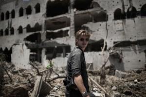Gaza Strip, Gaza City: My friend Oliver in Shujaya district during the ceasefire on July 26, 2014. ALESSIO ROMENZI