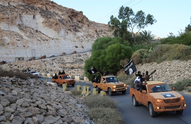 An armed motorcade belonging to members of Derna's Islamic Youth Council, seen in Derna, eastern Libya on Oct. 3, 2014.