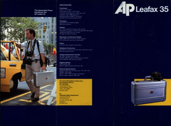 Promotional brochure announcing the AP Leafax 35, a picture transmitter that requires only a negative to transmit photographic images. 1988