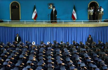 Iranian army air force officers saluting Supreme Leader Ayatollah Ali Khamenei during a ceremony in Tehran, Feb. 8, 2015.