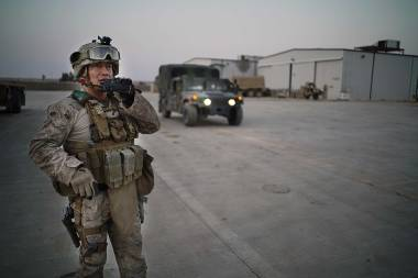 A U.S. Marine at Al Asad Air Base in Iraq's Anbar province, Dec. 28, 2014.