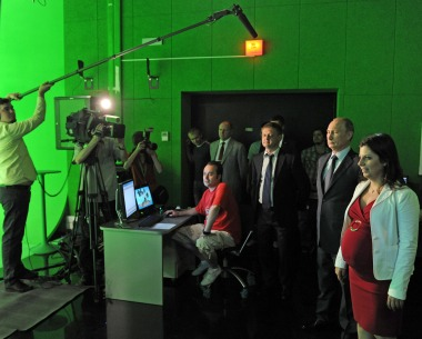 Editor in chief Margarita Simonyan gives Putin a tour of RT's new studio complex in Moscow in 2013