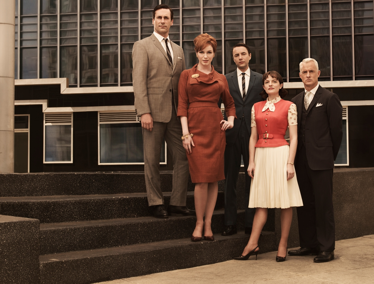Don Draper (Jon Hamm), Joan Holloway (Christina Hendricks), Pete Campbell (Vincent Kartheiser), Peggy Olson (Elisabeth Moss) and Roger Sterling (John Slattery) - Mad Men - Season 3 - Photo Credit: Frank Ockenfels/AMC