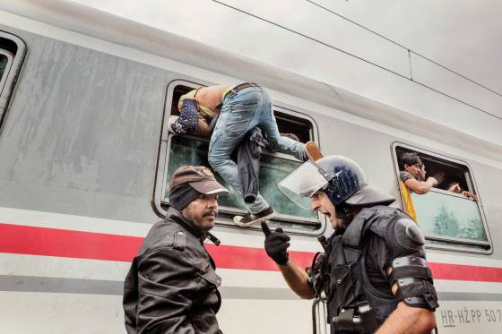 A police officer screams at a man as he attempts to board a train in Tovarnik, Croatia, Sept. 20, 2015.