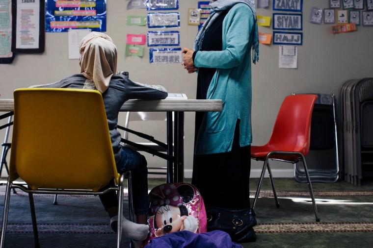 Sanaa Soliman teaches Sunday school at the Islamic Center of Fredericksburg on Dec. 20, 2015.