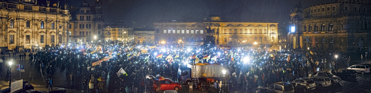 The number of right-wing demonstrations like this one in Dresden, which occurs every Monday, has grown since Merkel announced her policy on migrants