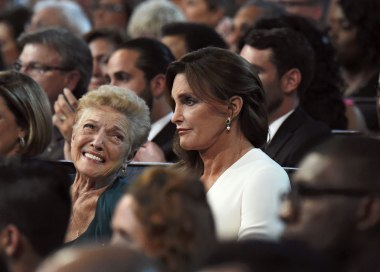 Jenner with her mother Esther at the ESPY Awards in July. In her speech accepting the Arthur Ashe Courage Award, she cast herself as a protector for transgender kids