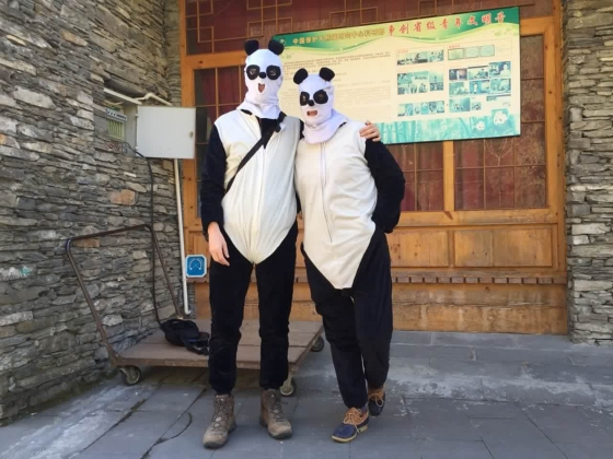 Photographer Adam Dean and TIME correspondent Hannah Beech wearing panda costumes while they report on the pandas at the Hetaoping Research and Conservation Center for the Giant Panda in Wolong, National Nature Reserve Sichuan Province, China, Dec 1, 2015.