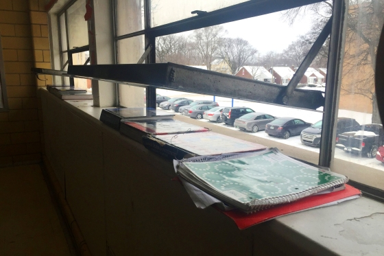 Windows are open and books cover heating vents to keep excessive heat from raising classroom temperatures at Cody Complex, part of the Detroit Public Schools, on Detroit's west side on Jan. 14, 2016. The school's aging boilers need work to regulate the temperature, but the district can't afford to fix them.