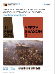 Yeezy Season 3 invitation on Kanye West's twitter featuring Paul Lowe's image from the Rwandan Genocide.