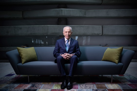 Shimon Peres, former Israeli President and Prime Minister, sits for a portrait at the Peres Center for Peace in Jaffa, Israel, Feb. 8, 2016.