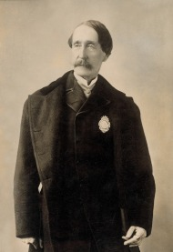ASPCA founder, Henry Bergh, wearing ASPCA President's badge, 1868