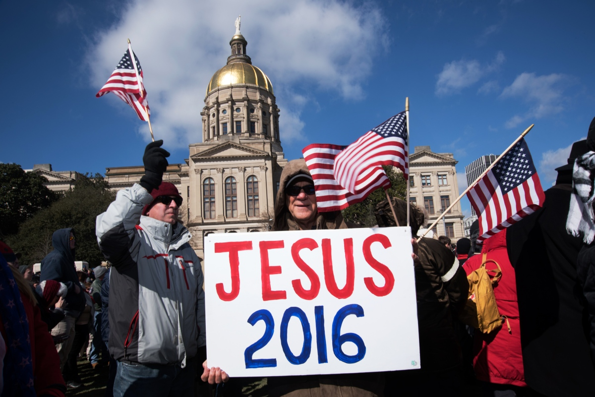 People attend a rally led by evangelist Franklin Graham in Atlanta on Feb. 10, 2016.