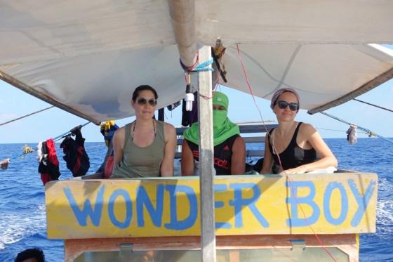 hannah and Chara on the Wonder Boy fishing boat in the South China Sea (no credit)
