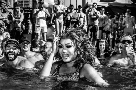 Jujubee of RuPaul's Drag Race face performs at a Pride party in Vancouver on Aug. 4, 2012.