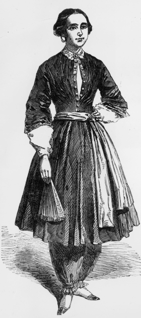 Amelia Bloomer, champion of women's rights and dress reform, wearing the 'trousers' she designed which were called 'bloomers', circa 1855.