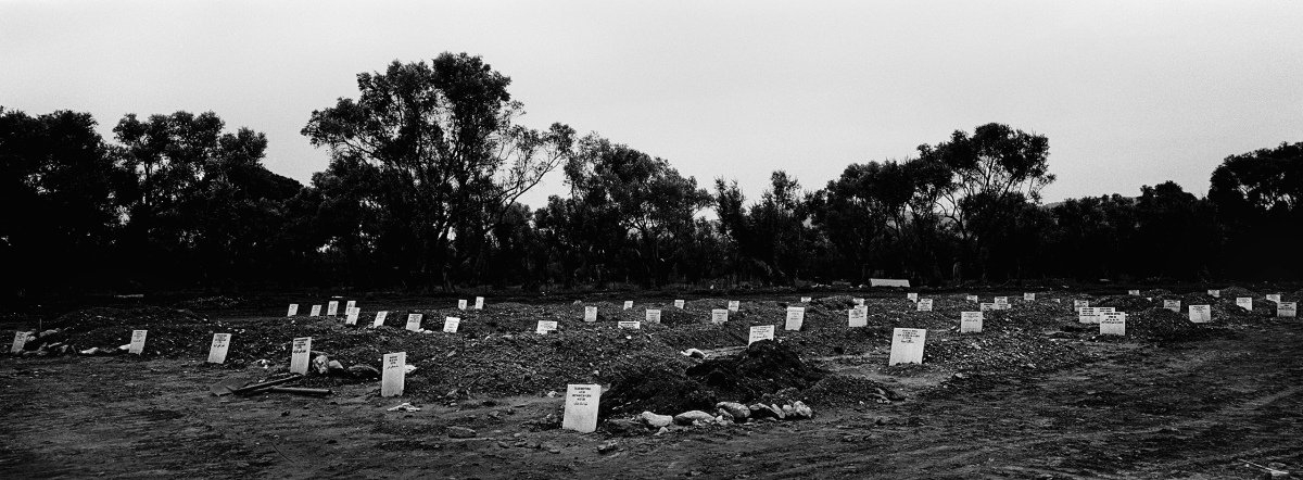 Graves of refugees who drowned while crossing the Aegean Sea from Turkey to Greece, many of them unidentified, were made on the Greek island of Lesvos.