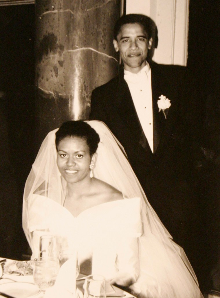 Barack Obama and Michelle Obama in a family snapshot from their wedding day, Oct. 18, 1992.