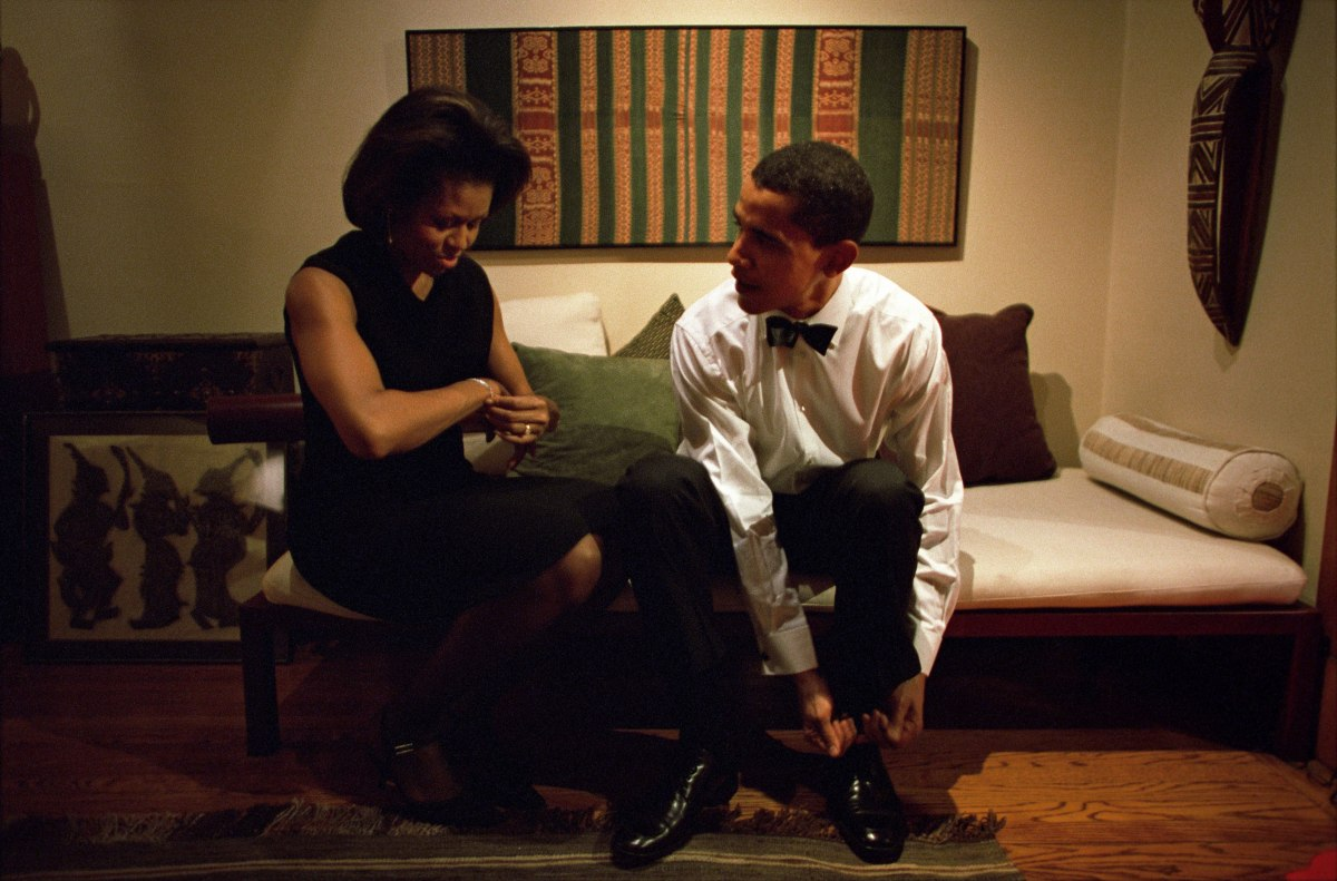 Barack Obama and Michelle Obama get ready to give the keynote address at the Chicago Economic Club at their home in Chicago on Dec. 8, 2004.