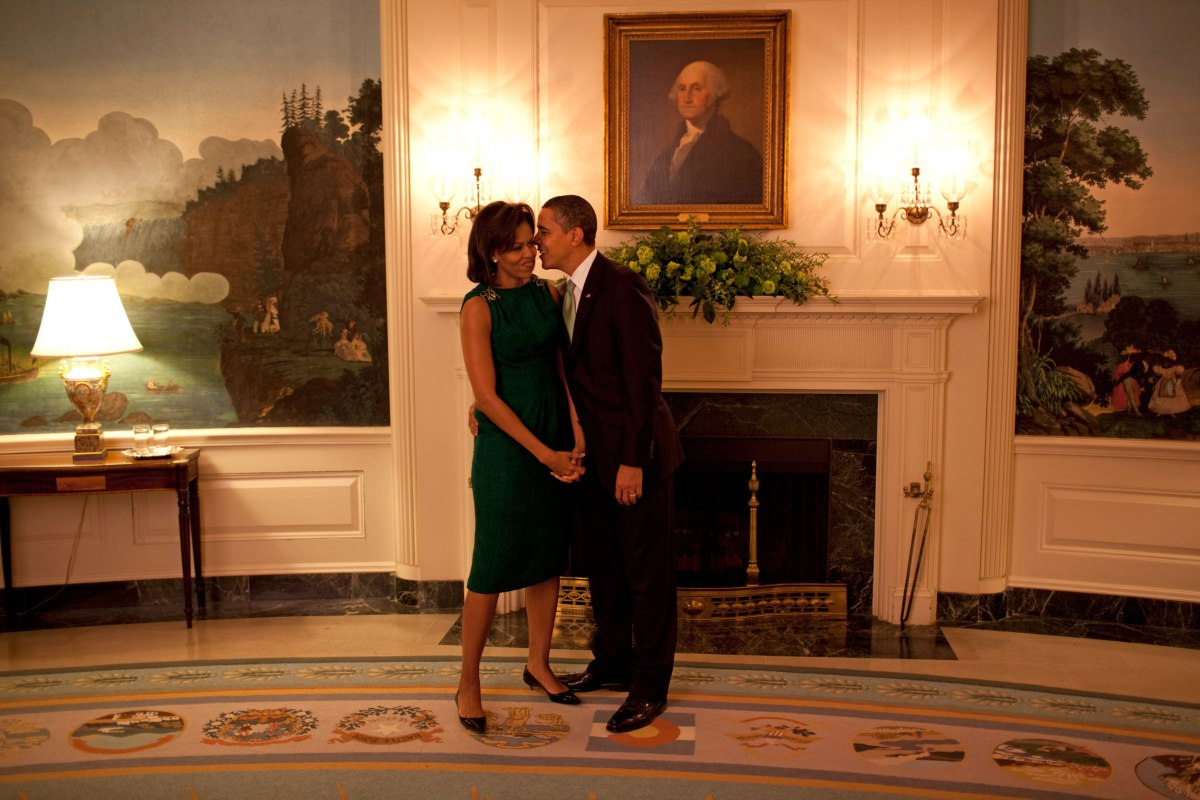 A quiet moment before a reception for Barack Obama and Michelle Obama in the Diplomatic Room of the White House in Washington, DC., March 17, 2009.
