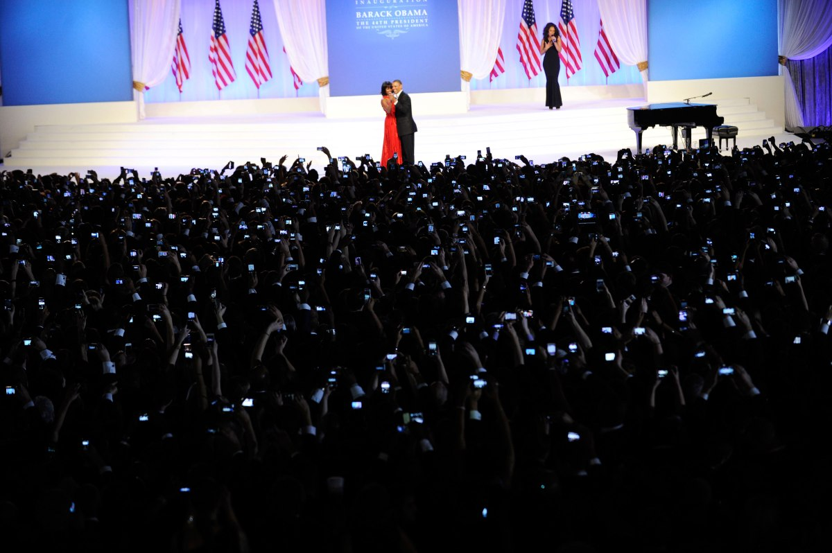 Barack Obama and Michelle Obama dance during the official Inaugural ball in Washington D.C., Jan. 21, 2013.