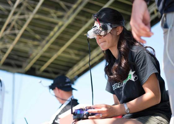 A competitor during the 2016 U.S. National Drone Racing Championships in New York on Aug. 7, 2016.