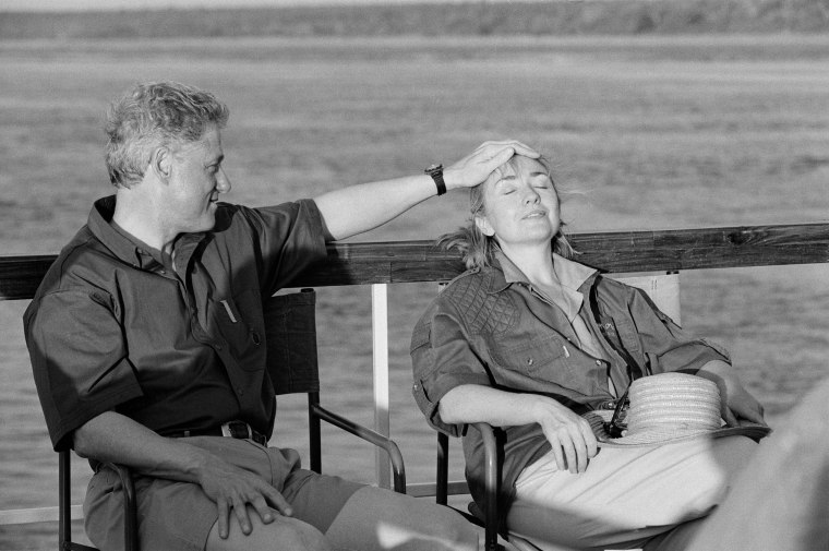 President Clinton and the First Lady on a cruise on the Chobe River, Botswana, March 30, 1998.