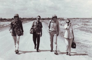 Clare Hollingworth with colleagues in Vietnam during the 1970s.