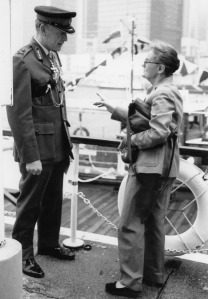 Clare meets with a senior British army officer in Hong Kong, 1980's.