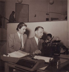 Clare Hollingworth and fiancee, later husband, Geoffrey Hoare at the press centre in Palestine, prior to foundation of state of Israel, late 1940s.